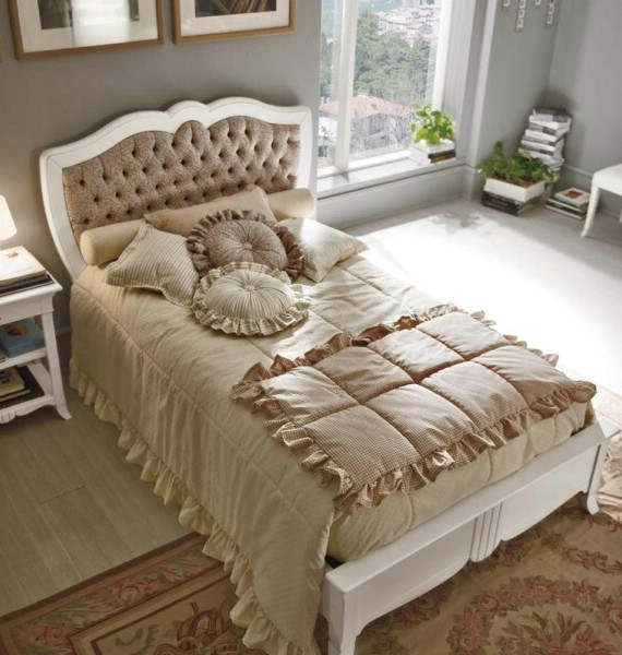 New Deco classic upholstered beds made of wood 2