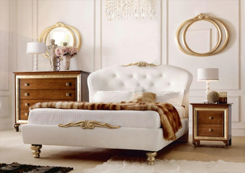 Classic luxury white bedroom furniture Chloe 3