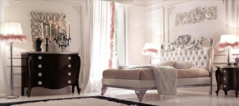 Классическая мебель для спальни класса люкс Шарлотта Сильвер 1