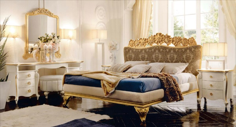 Classic luxury bedroom furniture Amelie Golden 1