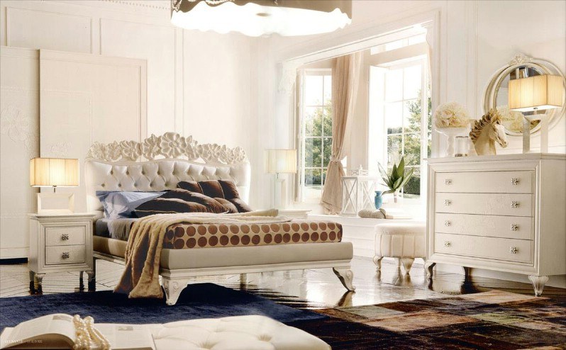 Classic luxury bedroom furniture Amelie White 1
