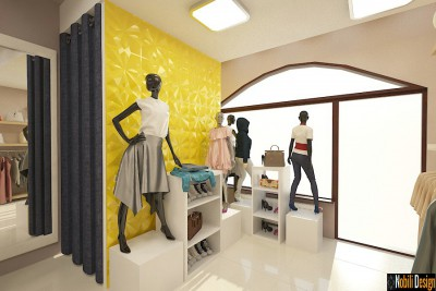 Interior shoe store design in Barcelona