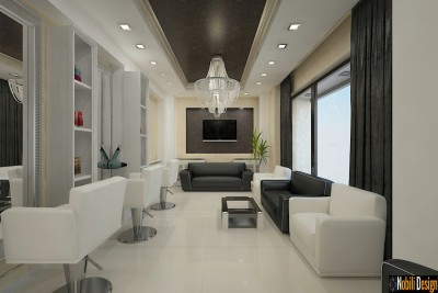 Sleek beauty salon interior design concept